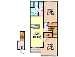 静岡県富士市田子の賃貸アパートの間取り