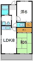 Osaka Metro谷町線 大日駅 徒歩18分の賃貸マンション 4階2LDKの間取り