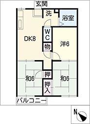 サンハイツ A棟[2階]の間取り