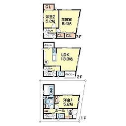 江戸川1丁目戸建 1階3LDKの間取り