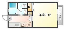 岡山県岡山市中区国富4丁目の賃貸アパートの間取り