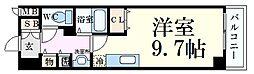 カスタリア三宮 2階1Kの間取り
