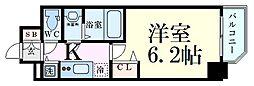プレサンス大阪ゲートシティ 9階1Kの間取り