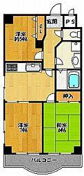 エバーモア北神戸[301号室]の間取り