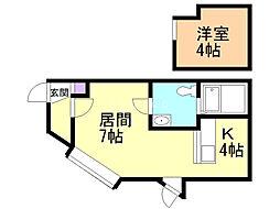 クラブハウス・レ・ヴェルーゼ 2階1LDKの間取り