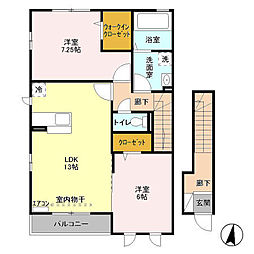 ベルセーヌ B[2階]の間取り