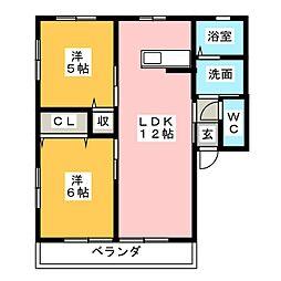 コスモハイムIIB[1階]の間取り