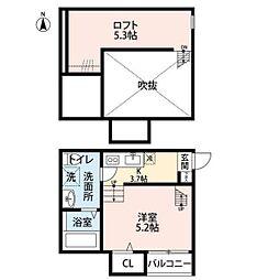 神奈川県相模原市中央区東淵野辺4丁目の賃貸アパートの間取り