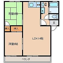 ローゼヒダカB棟[2階]の間取り