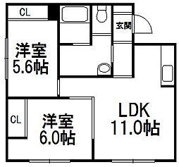 ブロードスペース[1-左号室]の間取り