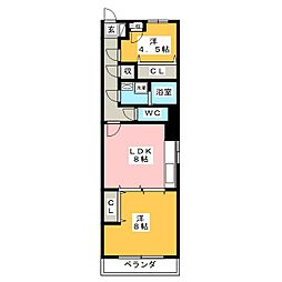 愛知県名古屋市熱田区野立町1丁目の賃貸マンションの間取り