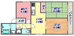 ロイヤルメゾン岡本III[2階]の間取り