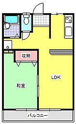 JR高崎線 北本駅 徒歩22分の賃貸アパート 1階1LDKの間取り