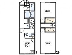 東京都世田谷区等々力3丁目の賃貸アパートの間取り