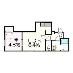 北海道札幌市厚別区厚別南2丁目の賃貸アパートの間取り