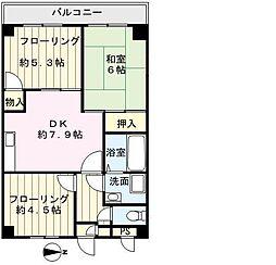 ウエストガーデン田島[201号室]の間取り