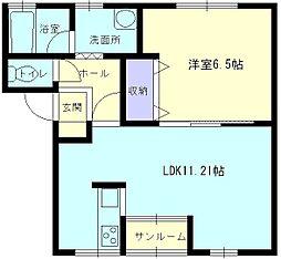 秋田県大仙市大曲戸巻町の賃貸アパートの間取り