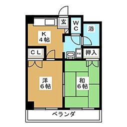 シティパル田子[1階]の間取り