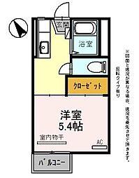 JR東海道・山陽本線 彦根駅 5.8kmの賃貸アパート 2階1Kの間取り