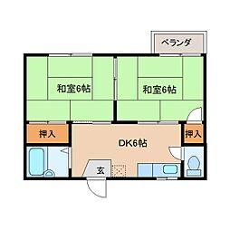 奈良県奈良市杉ケ町の賃貸アパートの間取り