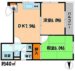 ノッピーハイム 4階2DKの間取り
