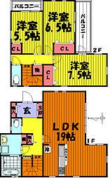 [一戸建] 埼玉県草加市北谷3丁目 の賃貸【/】の間取り