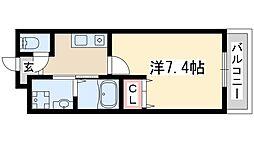 阪急京都本線 淡路駅 徒歩6分の賃貸マンション 2階1Kの間取り