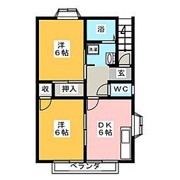 グレイスアベニュー B棟[2階]の間取り