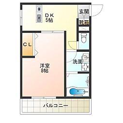 Osaka Metro四つ橋線 岸里駅 徒歩4分の賃貸マンション 3階1DKの間取り