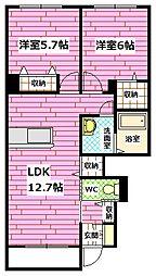 広島県広島市安佐南区長束西4丁目の賃貸アパートの間取り