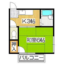 京都府京都市伏見区鍛冶屋町の賃貸アパートの間取り