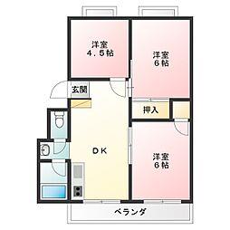 井内マンション[3階]の間取り