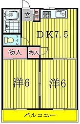 松丸ハイツ6号棟[1階]の間取り