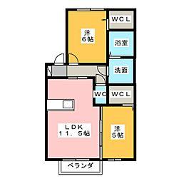 サンハイツ雅 B棟[2階]の間取り