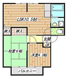 玉串町東2 ジョイフルコンフォート[202号室]の間取り