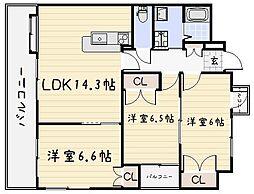 コスモス小倉駅前[705号室]の間取り