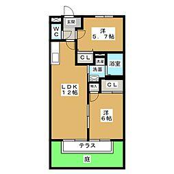 サンガーデン枇杷島[1階]の間取り