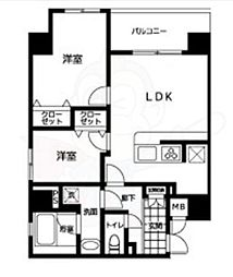 都営大江戸線 両国駅 徒歩10分の賃貸マンション 4階2LDKの間取り