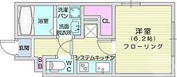 アンジェリーク新寺 2階1Kの間取り