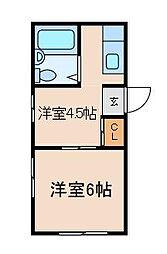 埼玉県川口市並木2丁目の賃貸アパートの間取り