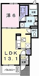 JR山陽本線 網干駅 徒歩11分の賃貸アパート 1階1LDKの間取り