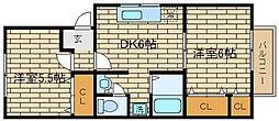 兵庫県神戸市須磨区白川台5丁目の賃貸アパートの間取り