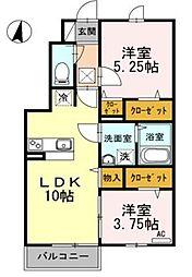 東京都西東京市北原町3丁目の賃貸アパートの間取り