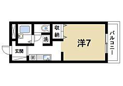 近鉄奈良線 大和西大寺駅 徒歩27分の賃貸アパート 1階ワンルームの間取り