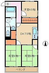 埼玉県さいたま市浦和区北浦和5丁目の賃貸マンションの間取り