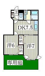 ロジュマン弐番館[1階]の間取り