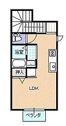 ガーデンコート下亀田II 2階ワンルームの間取り
