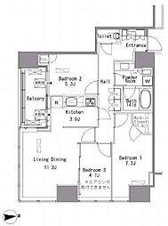 White Tower Hamamatsucho 11階3LDKの間取り