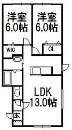 北海道札幌市白石区北郷二条1丁目の賃貸アパートの間取り
