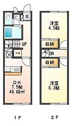 兵庫県赤穂市磯浜町の賃貸アパートの間取り